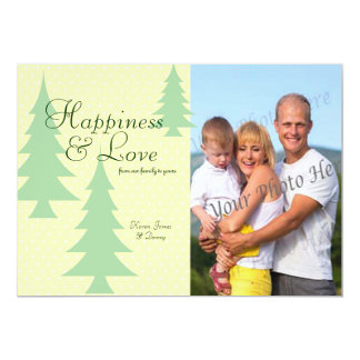 Pine Trees and Polka Dots Photo Flat Card Greeting 13 Cm X 18 Cm Invitation Card