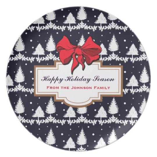 Pine Trees and Snow Happy Holiday Season Family Plate