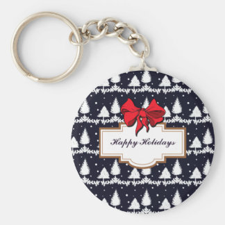 Pine Trees and Snow Happy Holidays Key Ring
