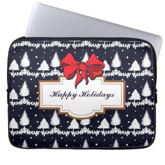Pine Trees and Snow Happy Holidays Laptop Sleeve