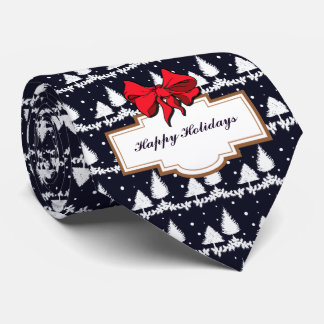 Pine Trees and Snow Happy Holidays Tie