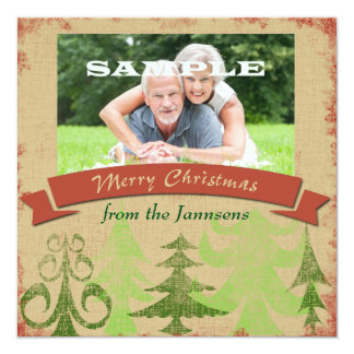 Pine Trees Border Merry Christmas 13 Cm X 13 Cm Square Invitation Card