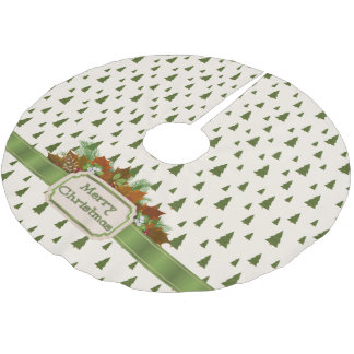 Pine Trees with Merry Christmas Ribbon Brushed Polyester Tree Skirt