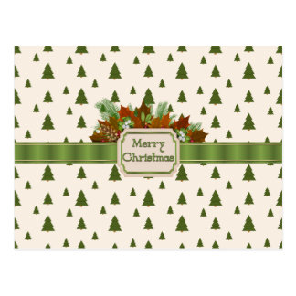 Pine Trees with Merry Christmas Ribbon Postcard