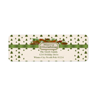 Pine Trees with Merry Christmas Ribbon Return Address Label