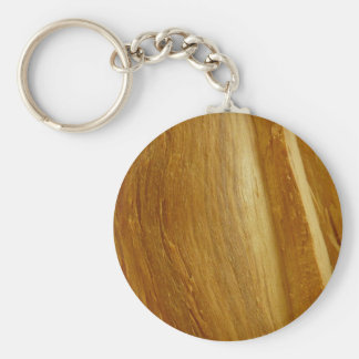 Pine Wood II Faux Wooden Texture Basic Round Button Key Ring
