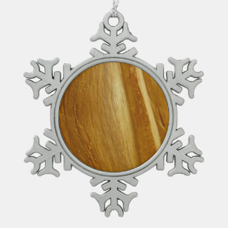 Pine Wood II Faux Wooden Texture Pewter Snowflake Decoration