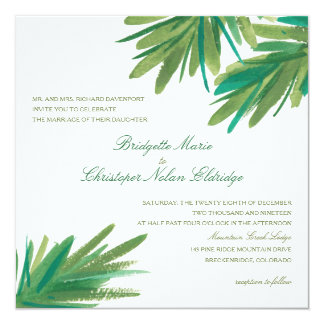 Pine Woods Watercolor | Wedding 13 Cm X 13 Cm Square Invitation Card
