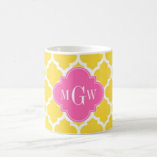 Pineaple Moroccan #5 Hot Pink2 3 Initial Monogram Coffee Mug