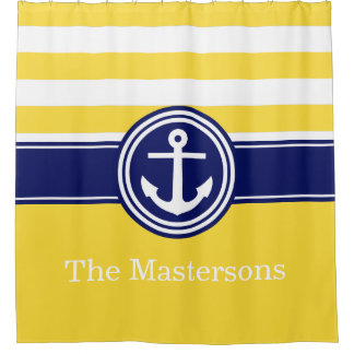 Pineapp Yellow Navy Blue Nautical Stripe Anchor CB Shower Curtain