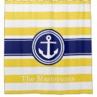 Pineapp Yellow Wt Navy Blue Nautical Stripe Anchor Shower Curtain