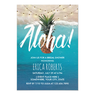Pineapple Aloha Tropical Beach Bridal Shower Card