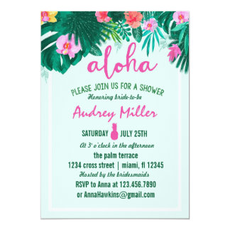 PINEAPPLE ALOHA tropical flower bridal shower 13 Cm X 18 Cm Invitation Card
