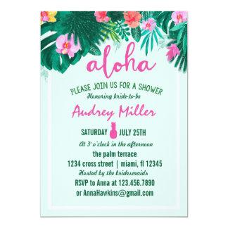PINEAPPLE ALOHA tropical flower bridal shower 13 Cm X 18 Cm Invitation Card