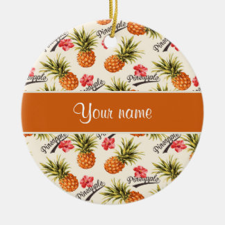 Pineapple and Hibiscus Christmas Ornament
