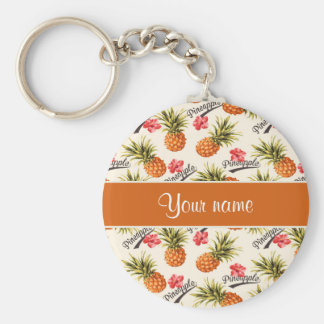 Pineapple and Hibiscus Key Ring
