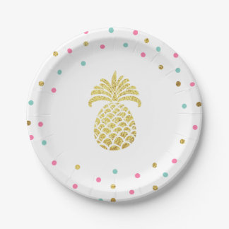 Pineapple Birthday Paper Plates Tropical Luau Gold