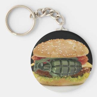 Pineapple Burger Basic Round Button Key Ring