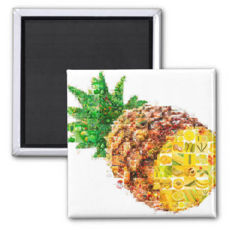 Pineapple collage - pineapple art - collage art magnet