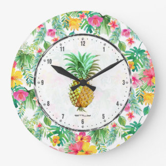 PineApple  & Colorful Tropical Flowers Pattern Large Clock