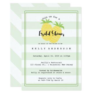 Pineapple Couple Tropical Bridal Shower Invitation