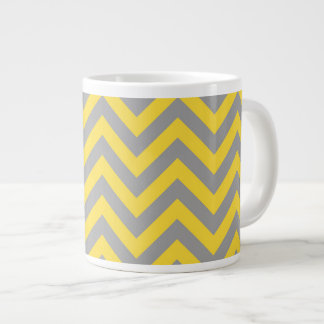 Pineapple, Dark Gray Large Chevron ZigZag Pattern Large Coffee Mug