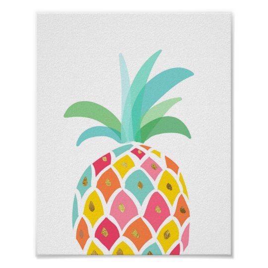 Pineapple decor Pineapple art Tropical print Pink