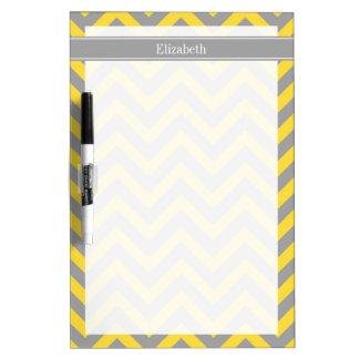 Pineapple Dk Gray LG Chevron Dk Gray Name Monogram Dry Erase Board