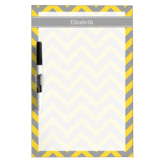 Pineapple Dk Gray LG Chevron Dk Gray Name Monogram Dry Erase Whiteboards