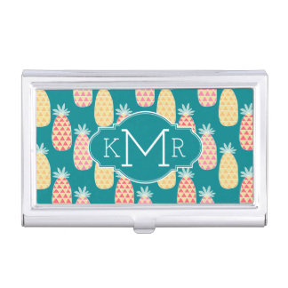 Pineapple Doodle Pattern | Monogram Business Card Holder