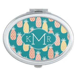 Pineapple Doodle Pattern   Monogram Compact Mirror
