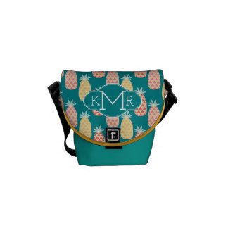 Pineapple Doodle Pattern | Monogram Courier Bag