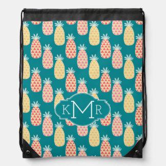Pineapple Doodle Pattern | Monogram Drawstring Bag