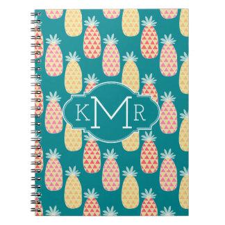 Pineapple Doodle Pattern | Monogram Notebook