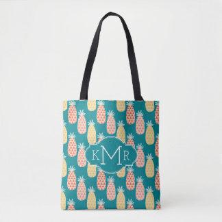 Pineapple Doodle Pattern | Monogram Tote Bag