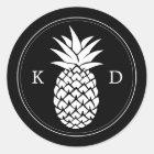 Pineapple Elegant Initials Tropical Wedding Classic Round Sticker
