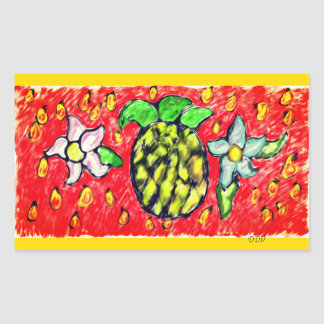 pineapple flowers rectangular sticker