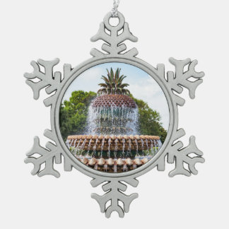 Pineapple Fountain in Charleston, SC Snowflake Pewter Christmas Ornament