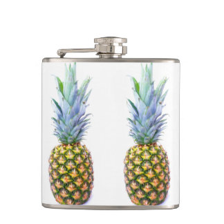Pineapple Fruit Beach Dessert Colorful Tropical Hip Flask