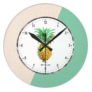 PineApple  & Geometric Beige & Green Linen Large Clock