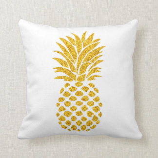 Pineapple & Gold Glitter Polka Dots Throw Pillow