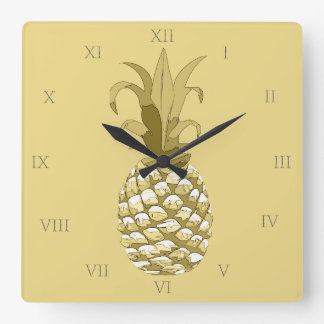 Pineapple Gold ID239 Square Wall Clock