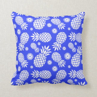 Pineapple graphic flowers tropical blue pillow throw cushion