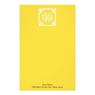 Pineapple Greek Key #2 Framed 3 Init Vine Monogram Personalized Stationery