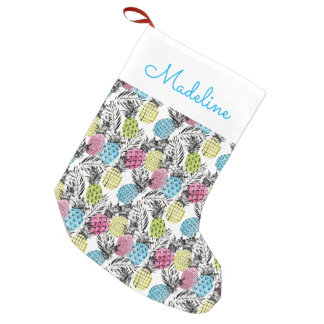 Pineapple Grunge Palms | Add Your Name Small Christmas Stocking