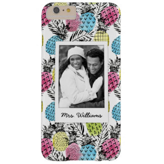 Pineapple Grunge Palms | Add Your Photo & Name Barely There iPhone 6 Plus Case