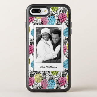 Pineapple Grunge Palms | Add Your Photo & Name OtterBox Symmetry iPhone 8 Plus/7 Plus Case