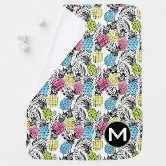 Pineapple Grunge Palms | Monogram Baby Blanket