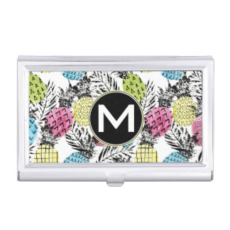 Pineapple Grunge Palms | Monogram Business Card Holder