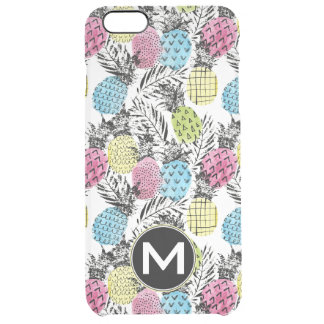 Pineapple Grunge Palms | Monogram Clear iPhone 6 Plus Case